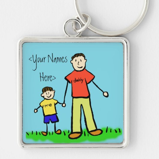 Father and Son Family Characters Custom Keychains