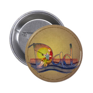 Father and son fishing artistic text design 6 cm round badge
