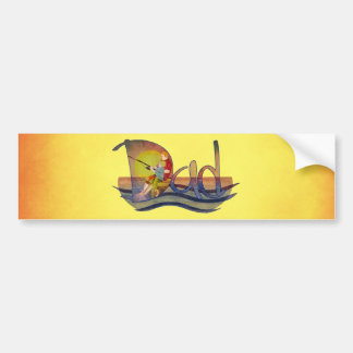 Father and son fishing artistic text design bumper sticker