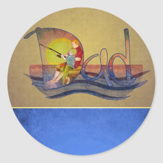 Father and son fishing artistic text design round sticker