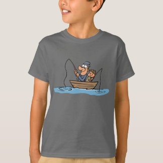 Father and Son Fishing Cartoon T-Shirt