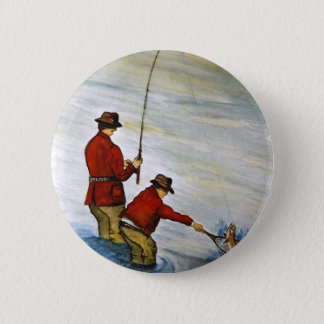 Father and son fishing trip 6 cm round badge