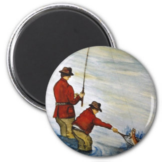 Father and son fishing trip 6 cm round magnet