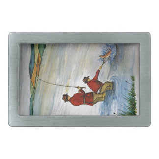Father and son fishing trip belt buckle
