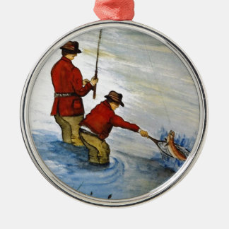 Father and son fishing trip christmas ornament