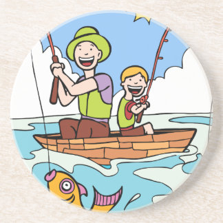 Father and Son Fishing Trip Drink Coasters