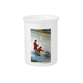 Father and son fishing trip pitcher