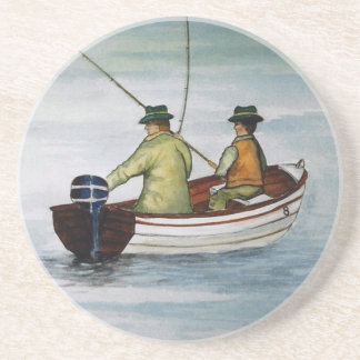Father and son fishing trip sandstone coaster