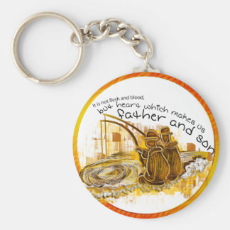 Father and son fishing vintage art keychains