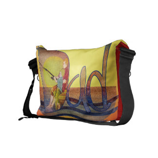 Father and son fishing vintage messenger bags