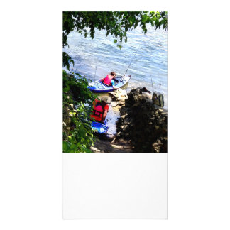Father and Son Launching Kayaks Picture Card