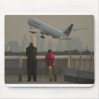 Father and son plane watching mouse pad