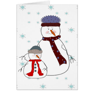Father and Son Snowman Snowing Whimsical  Art Card