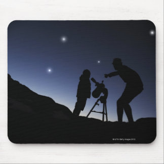 Father and Young Boy (6 years old) outside at Mouse Mat