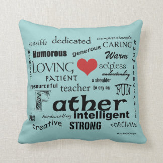 Father Attributes-Red Heart/Personalize Throw Cushion