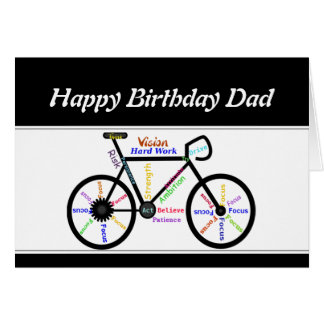 Father Birthday Motivational Bike Bicycle Cycling Greeting Card