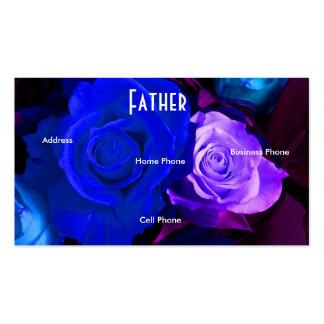 Father Blue Purple Roses Profile Card Business Card Template