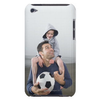 Father carrying son on shoulders and holding Case-Mate iPod touch case