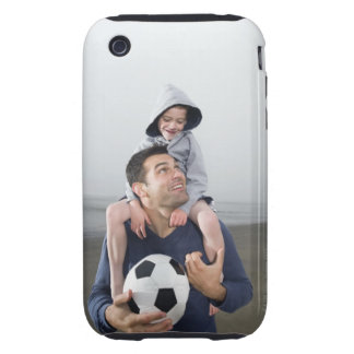 Father carrying son on shoulders and holding iPhone 3 tough covers