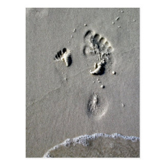 Father & Child Footprints in the Sand Post Card