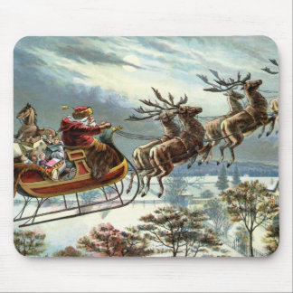 Father Christmas and his reindeer Mouse Mat
