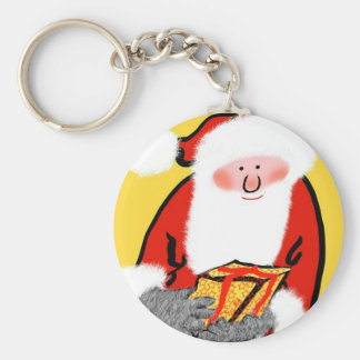Father Christmas Basic Round Button Key Ring