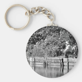 Father Christmas day off Basic Round Button Key Ring