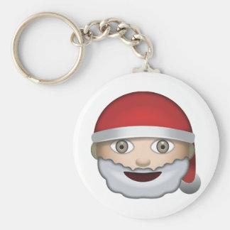Father Christmas Emoji Basic Round Button Key Ring