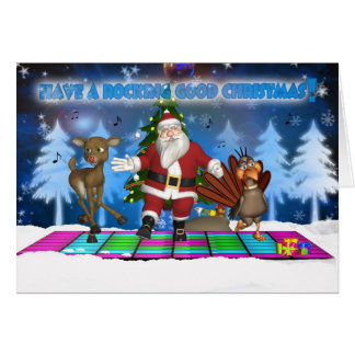 Father Christmas - Reindeer - Turkey - Rocking Goo Greeting Card