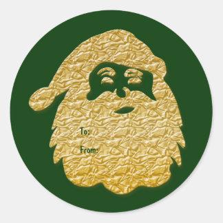 """Father Christmas"" Santa Claus elegant gold Classic Round Sticker"