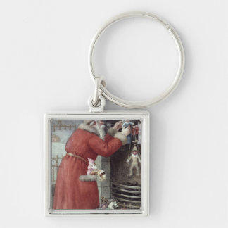 Father Christmas Silver-Colored Square Key Ring