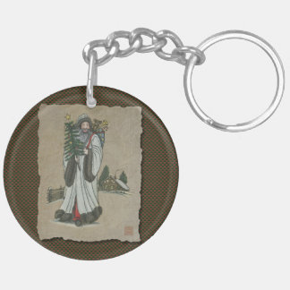 Father Christmas & Toys Double-Sided Round Acrylic Key Ring