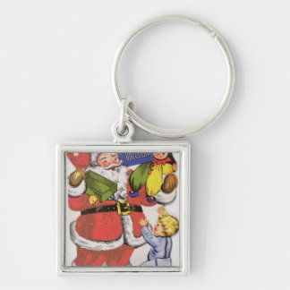 Father Christmas, Victorian Christmas card Key Ring