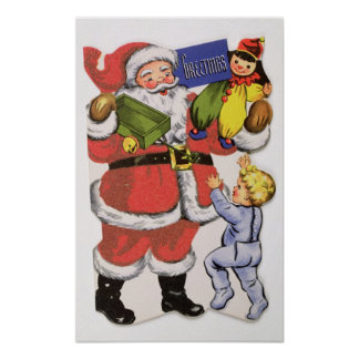 Father Christmas, Victorian Christmas card Poster