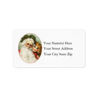 Father Christmas Vintage Address Label