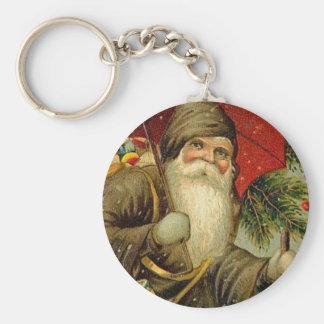 Father Christmas - Vintage Art Basic Round Button Key Ring