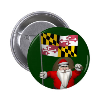 Father Christmas With Flag Of Maryland 6 Cm Round Badge