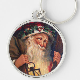 Father Christmas with Lantern Silver-Colored Round Key Ring