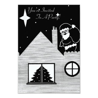 father christmas with sack on roof black and white 9 cm x 13 cm invitation card