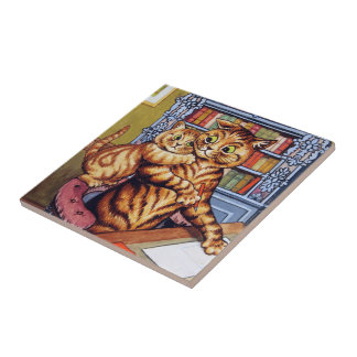 Father(Daddy) cat, Louis Wain Ceramic Tile