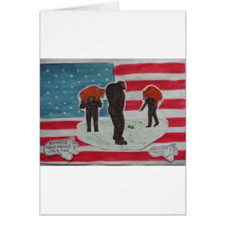father hunting with sons /U.S.A.Flag. Card