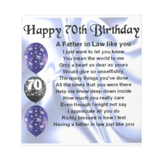 Father in Law Poem - 70th Birthday Notepad