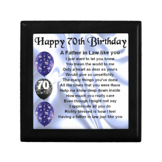 Father in Law Poem - 70th Birthday Small Square Gift Box