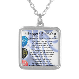 Father in Law Poem - Happy Birthday Silver Plated Necklace