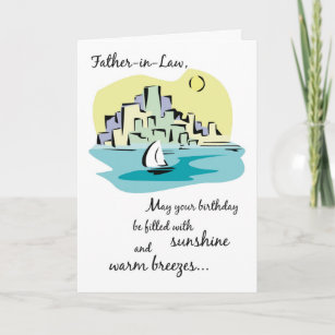 Father In Law Sailboat City Birthday Card