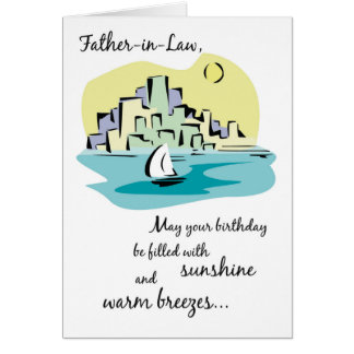 Father-in-Law Sailboat City Birthday Card