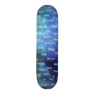Father in many different world languages - Blue Skateboard Decks