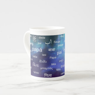 Father in many different world languages - Blue Tea Cup
