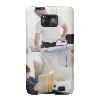 Father ironing samsung galaxy SII cover
