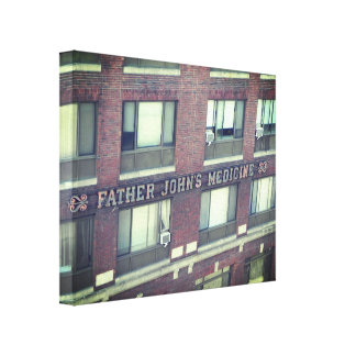 FATHER JOHN'S MEDICINE BUILDING WRAPPED CANVAS PRINT